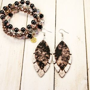 Jewelry - Black & Rose Gold Leather Fringe Earrings!! (NWT)
